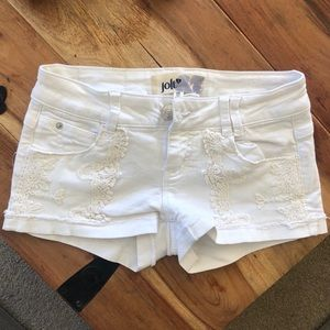White Jolt Denim Shorts with Lace Detail